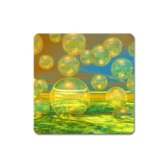 Golden Days, Abstract Yellow Azure Tranquility Magnet (square)