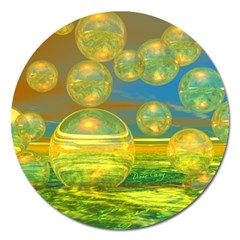 Golden Days, Abstract Yellow Azure Tranquility Magnet 5  (Round)