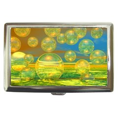 Golden Days, Abstract Yellow Azure Tranquility Cigarette Money Case