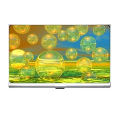 Golden Days, Abstract Yellow Azure Tranquility Business Card Holder