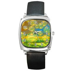 Golden Days, Abstract Yellow Azure Tranquility Square Leather Watch