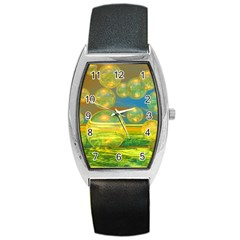 Golden Days, Abstract Yellow Azure Tranquility Tonneau Leather Watch