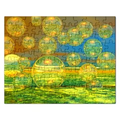 Golden Days, Abstract Yellow Azure Tranquility Jigsaw Puzzle (rectangle)