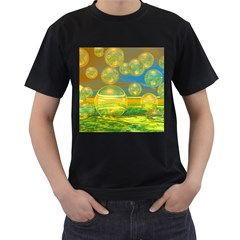 Golden Days, Abstract Yellow Azure Tranquility Men s Two Sided T Shirt (black)