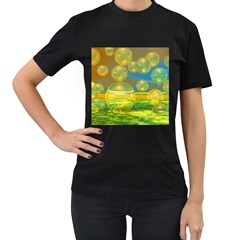 Golden Days, Abstract Yellow Azure Tranquility Women s Two Sided T-shirt (Black)