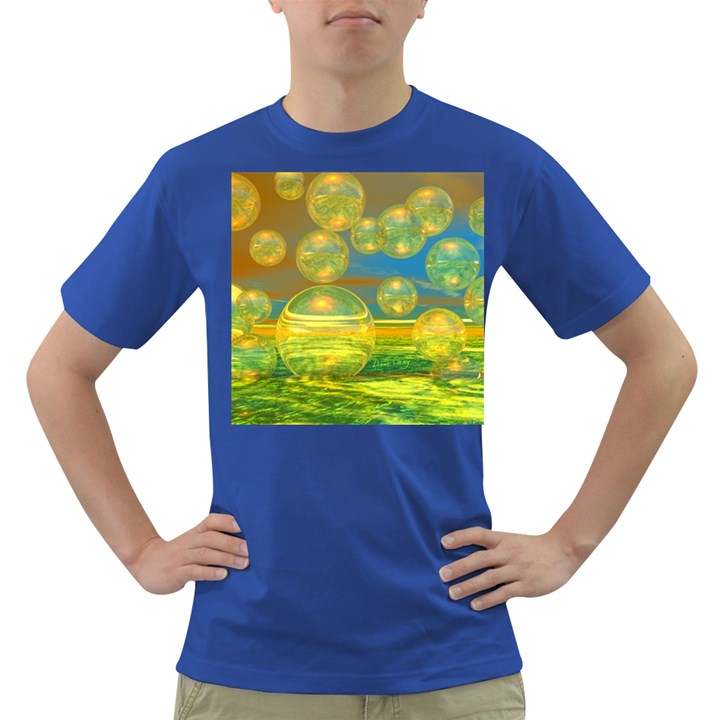 Golden Days, Abstract Yellow Azure Tranquility Men s T-shirt (Colored)