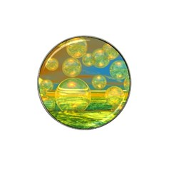 Golden Days, Abstract Yellow Azure Tranquility Golf Ball Marker 4 Pack (for Hat Clip)
