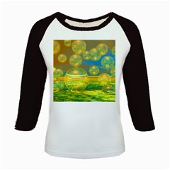 Golden Days, Abstract Yellow Azure Tranquility Kids Long Cap Sleeve T Shirt