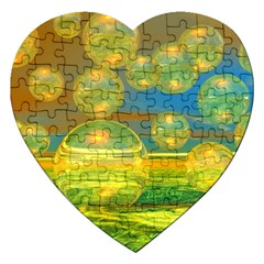 Golden Days, Abstract Yellow Azure Tranquility Jigsaw Puzzle (Heart)