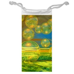 Golden Days, Abstract Yellow Azure Tranquility Jewelry Bag