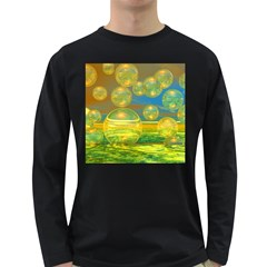 Golden Days, Abstract Yellow Azure Tranquility Men s Long Sleeve T-shirt (Dark Colored)