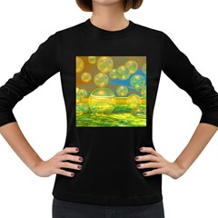 Golden Days, Abstract Yellow Azure Tranquility Women s Long Sleeve T Shirt (dark Colored)