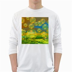 Golden Days, Abstract Yellow Azure Tranquility Men s Long Sleeve T-shirt (White)