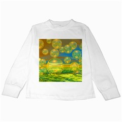 Golden Days, Abstract Yellow Azure Tranquility Kids Long Sleeve T-Shirt