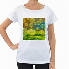 Golden Days, Abstract Yellow Azure Tranquility Women s Loose-Fit T-Shirt (White)