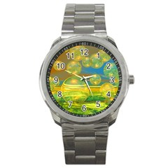 Golden Days, Abstract Yellow Azure Tranquility Sport Metal Watch