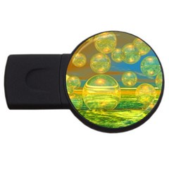 Golden Days, Abstract Yellow Azure Tranquility 4gb Usb Flash Drive (round)