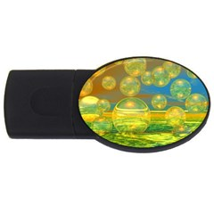 Golden Days, Abstract Yellow Azure Tranquility 4GB USB Flash Drive (Oval)