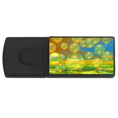 Golden Days, Abstract Yellow Azure Tranquility 4gb Usb Flash Drive (rectangle)