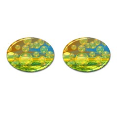 Golden Days, Abstract Yellow Azure Tranquility Cufflinks (Oval)