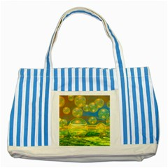 Golden Days, Abstract Yellow Azure Tranquility Blue Striped Tote Bag
