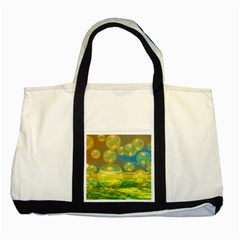 Golden Days, Abstract Yellow Azure Tranquility Two Toned Tote Bag