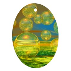Golden Days, Abstract Yellow Azure Tranquility Oval Ornament (Two Sides)