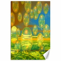Golden Days, Abstract Yellow Azure Tranquility Canvas 24  x 36  (Unframed)