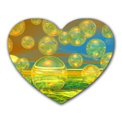 Golden Days, Abstract Yellow Azure Tranquility Mouse Pad (heart)