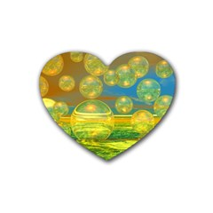 Golden Days, Abstract Yellow Azure Tranquility Drink Coasters (heart)