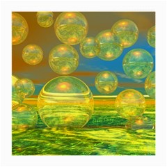 Golden Days, Abstract Yellow Azure Tranquility Glasses Cloth (Medium, Two Sided)