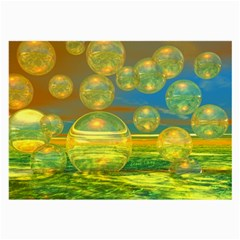 Golden Days, Abstract Yellow Azure Tranquility Glasses Cloth (large, Two Sided)