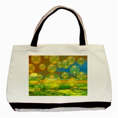 Golden Days, Abstract Yellow Azure Tranquility Twin-sided Black Tote Bag