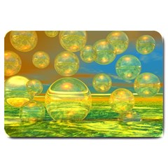 Golden Days, Abstract Yellow Azure Tranquility Large Door Mat