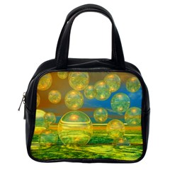 Golden Days, Abstract Yellow Azure Tranquility Classic Handbag (One Side)