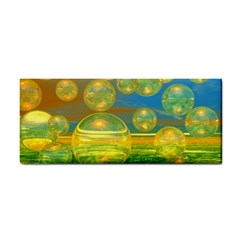 Golden Days, Abstract Yellow Azure Tranquility Hand Towel