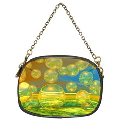 Golden Days, Abstract Yellow Azure Tranquility Chain Purse (two Sided)
