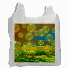 Golden Days, Abstract Yellow Azure Tranquility White Reusable Bag (One Side)