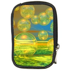 Golden Days, Abstract Yellow Azure Tranquility Compact Camera Leather Case