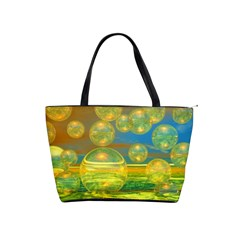 Golden Days, Abstract Yellow Azure Tranquility Large Shoulder Bag