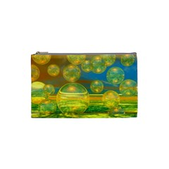 Golden Days, Abstract Yellow Azure Tranquility Cosmetic Bag (Small)