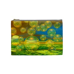 Golden Days, Abstract Yellow Azure Tranquility Cosmetic Bag (medium)