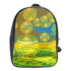 Golden Days, Abstract Yellow Azure Tranquility School Bag (large)