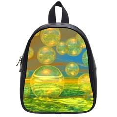 Golden Days, Abstract Yellow Azure Tranquility School Bag (Small)