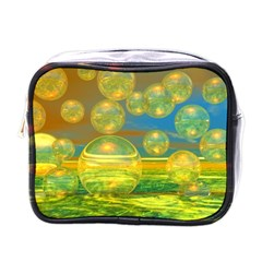 Golden Days, Abstract Yellow Azure Tranquility Mini Travel Toiletry Bag (One Side)