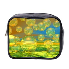 Golden Days, Abstract Yellow Azure Tranquility Mini Travel Toiletry Bag (two Sides)