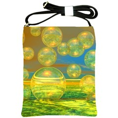 Golden Days, Abstract Yellow Azure Tranquility Shoulder Sling Bag