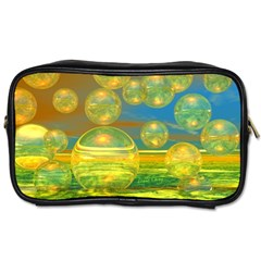 Golden Days, Abstract Yellow Azure Tranquility Travel Toiletry Bag (one Side)