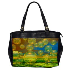 Golden Days, Abstract Yellow Azure Tranquility Oversize Office Handbag (One Side)