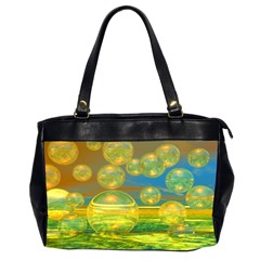 Golden Days, Abstract Yellow Azure Tranquility Oversize Office Handbag (Two Sides)